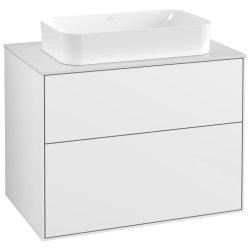 Dulap baza suspendat Villeroy & Boch Finion 80x60x50cm, tip blat, Glossy White Laquer / Glass White Matt
