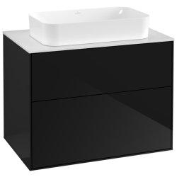 Dulap baza suspendat Villeroy & Boch Finion 80x60x50cm, tip blat, Glossy Black Laquer / Glass White Matt