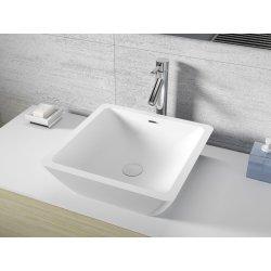 Lavoare baie Lavoar patrat Riho Avella 42x42cm, Solid Surface, alb mat