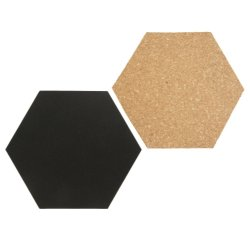 Living & Lifestyle Set Securit Hexagon cu 4 table de scris 20x23cm si 3 panouri pluta 20x23x2cm