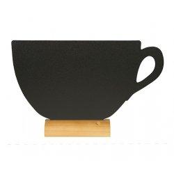 Table de scris & Accesorii Tabla de scris Securit Silhouette Cup 21,3x33,5x6cm, baza de lemn, marker creta inclus, negru