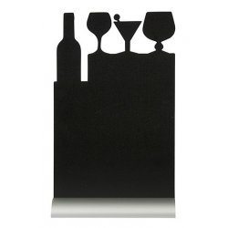 Default Category SensoDays Tabla de scris Securit Silhouette Cocktail 34,5x21x6cm, baza aluminiu, include marker creta, negru