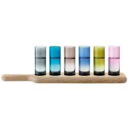 Pahare & Cupe Set 6 pahare LSA International Paddle Vodka Assorted Colours cu suport lemn stejar 40cm