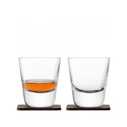 Pahare & Cupe Set 2 pahare LSA International Whisky Arran 250ml cu suport lemn nuc