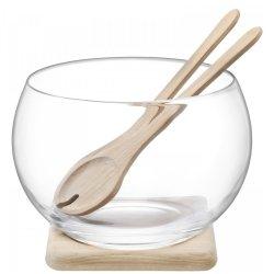 Servirea mesei Bol cu suport lemn si tacamuri salata LSA International Serve 27cm