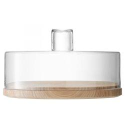Platouri & Tavi servire Platou lemn frasin cu capac sticla LSA International Lotta 32cm, h20cm