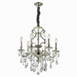Candelabre & Lustre Lustra Ideal Lux Gioconda SP6, 6x40W, 62x93-118cm, argintiu