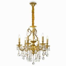 Candelabre & Lustre Lustra Ideal Lux Gioconda SP6, 6x40W, 62x93-118cm, auriu