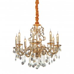 Candelabre & Lustre Lustra Ideal Lux Gioconda SP8, 8x40W, 73x95-120cm, auriu