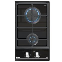 Electrocasnice mari Plita gaz incorporabila Teka GZC 32300 Domino, cu 2 arzatoare, 30cm, gratare fonta, Cristal negru