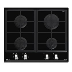 Electrocasnice mari Plita gaz incorporabila Teka GZC 64300 cu 4 arzatoare, 60cm, gratare fonta, Cristal negru