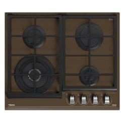 Plita gaz incorporabila Teka GZC 64320 cu 4 arzatoare, 60cm, gratare fonta, Cristal London brick brown