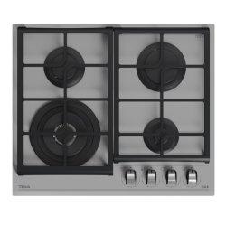 Electrocasnice mari Plita gaz incorporabila Teka GZC 64320 cu 4 arzatoare, 60cm, gratare fonta, Cristal Steam Grey