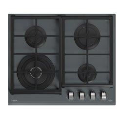 Electrocasnice mari Plita gaz incorporabila Teka GZC 64320 cu 4 arzatoare, 60cm, gratare fonta, Cristal Stone Grey