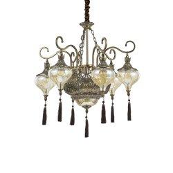 Candelabre & Lustre Lustra Ideal Lux Harem SP9, 9x60W, 75x80-170cm, alama antichizata