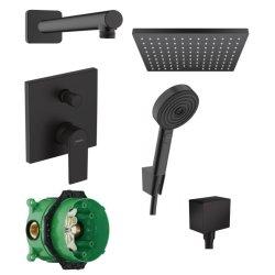 Default Category SensoDays Sistem de dus incastrat Hansgrohe Vernis Shape Pulsify negru mat cu 2 consumatori