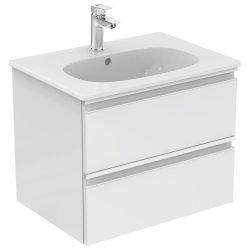 Dulapuri si blaturi pentru lavoare baie Mobilier baza Ideal Standard Tesi 800 x 490 x 440 mm cu doua sertare alb lucios
