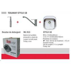 Chiuvete bucatarie Pachet Teka Tekaway Stylo 1B chiuveta Stylo 1B inox satinat + baterie ML/MF2, dozator pentru detergent