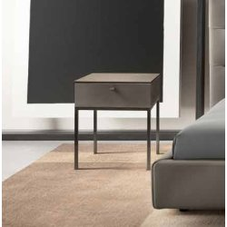 Mobilier dormitor Noptiera Gamma K007-B, top Terra Ceramic, piele Pampas E933, baza metal Anthracite, HandMade in Italy