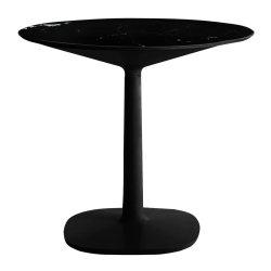 Mobilier Masa rotunda Kartell Multiplo design Antonio Citterio, d78cm, h74cm, baza patrata, blat cu finisaj marmura, negru