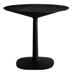 Mobilier Masa rotunda Kartell Multiplo design Antonio Citterio, d78cm, h74cm, baza patrata, blat sticla, negru