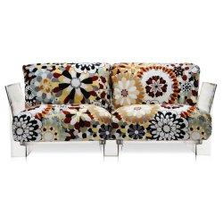 Canapea cu doua locuri Kartell Pop design Piero Lissoni & Carlo Tamborini, cadru transparent, tapiterie Missoni, Vevey caramel