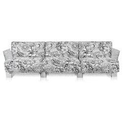 Canapea cu trei locuri Kartell Pop design Piero Lissoni & Carlo Tamborini, cadru transparent, tapiterie Missoni, Cartagena alb-negru