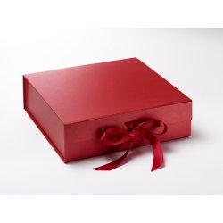 Cadouri pentru Amandoi Cutie cadou FoldaBox Large, inchidere magnetica si fundita, Pearl Red