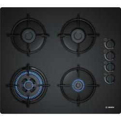 Electrocasnice mari Plita gaz incorporabila Bosch POH6B6B10 Serie 2, 60cm, 4 arzatoare, sticla neagra