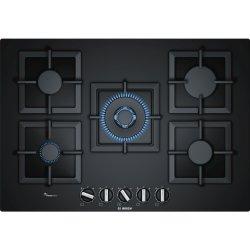 Plita gaz incorporabila Bosch PPQ7A6B20 FlameSelect Serie 6, 75cm, 5 arzatoare, gratare fonta, sticla neagra