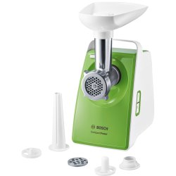 Electrocasnice mici Masina de tocat Bosch MFW3520G Compact Power 1,8 kg/min, 1500W, accesoriu kebbe, carnati, alb / verde