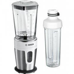 Mixere - Blendere Blender de masa Bosch MMBM7G2M VitaStyle Mixx2Go, 350W, vas sticla ThermoSafe 0.6 litri, 2 viteze, sticla Tritan 2Go 500ml, alb - inox polisat
