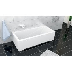 Cazi de baie simple Cada rectangulara Besco Modern 150x70 complet echipata cu panouri si sifon Wirquin PRO push-open