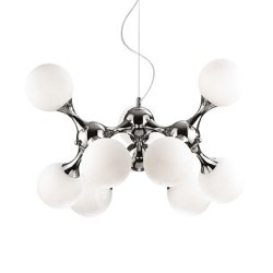 Suspensie Ideal Lux Nodi Bianco SP9, 9x40W, 80x60-135cm, crom