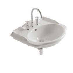 Obiecte sanitare Lavoar Globo Paestum 71x57 pentru baterie din 3 elemente