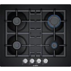 Electrocasnice mari Plita gaz incorporabila Bosch PNP6B6B90 Serie 4, 60cm, 4 arzatoare, gratare fonta, sticla neagra