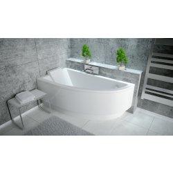 Cada baie asimetrica Besco Praktika 140x70cm, acril, orientare stanga
