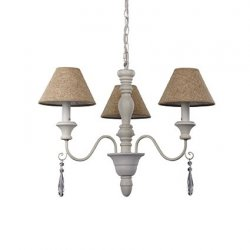 Candelabre & Lustre Lustra Ideal Lux Provence SP3, 3x40W, 60x70-130cm, alb antichizat