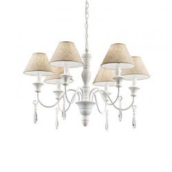 Candelabre & Lustre Lustra Ideal Lux Provence SP6, 6x40W, 77x60-155cm, alb antichizat