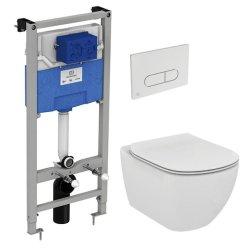Obiecte sanitare Set vas WC suspendat Ideal Standard Tesi Aquablade, capac inchidere lenta si rezervor incastrat ProSys cu clapeta Oleas M1 crom