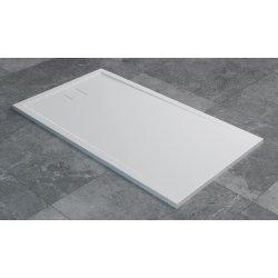 Cadita de dus dreptunghiulara SanSwiss Livada W20A, 70x140 cm slim, marmura sintetica, alb