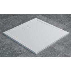 Cadita de dus patrata SanSwiss Livada W20Q, 100x100 cm slim, marmura sintetica , alb