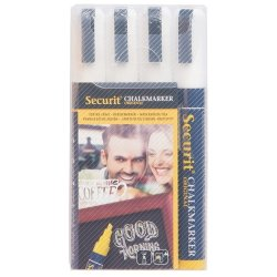 Table de scris & Accesorii Set 4 markere creta Securit Liquid Medium 2-6mm, alb