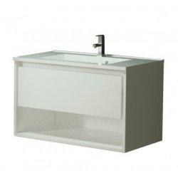 Seturi mobilier baie Set mobilier Sanotechnik Soho cu dulap baza suspedat si lavoar compozit 60x48cm, alb lucios