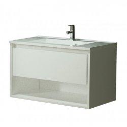 Seturi mobilier baie Set mobilier Sanotechnik Soho cu dulap baza suspedat si lavoar compozit 80x46cm, alb lucios