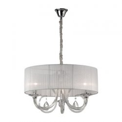 Candelabre & Lustre Lustra Ideal Lux Swan SP3, 3x40W, 60x55-120cm, alb
