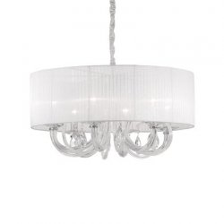 Candelabre & Lustre Lustra Ideal Lux Swan SP6, 6x40W, 69x58-130cm, alb