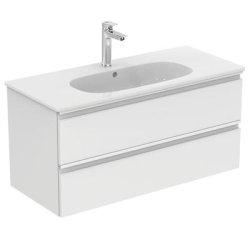 Dulap baza Ideal Standard Tesi 100cm cu 2 sertare cu inchidere lenta alb lucios