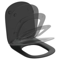 Capac WC Ideal Standard Tesi slim cu inchidere lenta, negru mat