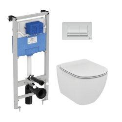Obiecte sanitare Set vas wc suspendat Ideal Standard Tesi Aquablade, capac Slim inchidere lenta, rezervor cu cadru ProSys si clapeta Oleas M1 crom